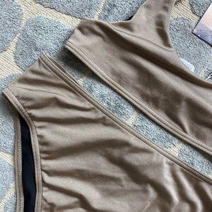 NEW Missguided Minimal High Waist Sheen Bikini Set